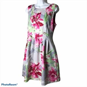 Vince Camuto Floral Scuba Fit & Flare Dress